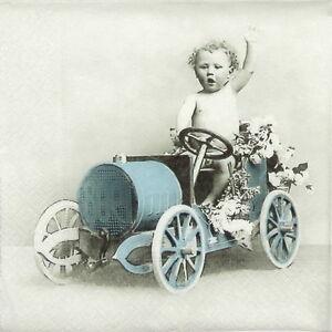 4x-Paper-Napkins-for-Decoupage-Decopatch-Sagen-Vintage-Boy-in-car
