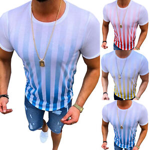 Men-Summer-Striped-Tops-Casual-Sports-T-Shirts-Short-Sleeve-Loose-Fit-Basic-Tee