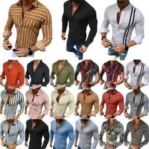 Herren-Leinenhemd-Langarm-Freizeithemd-Slim-Fit-Shirts-Knoepfe-Blusen-Tops-Hemden