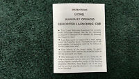 Lionel 3409 Manually Operated Helicopter Launching Car Instructions Photocopy