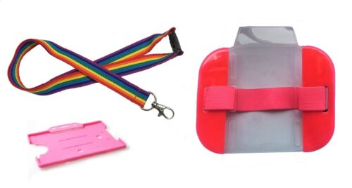 ID Card Holder Rainbow Lanyard /& Single Card Holder /& Adjustable Arm Badge SIA