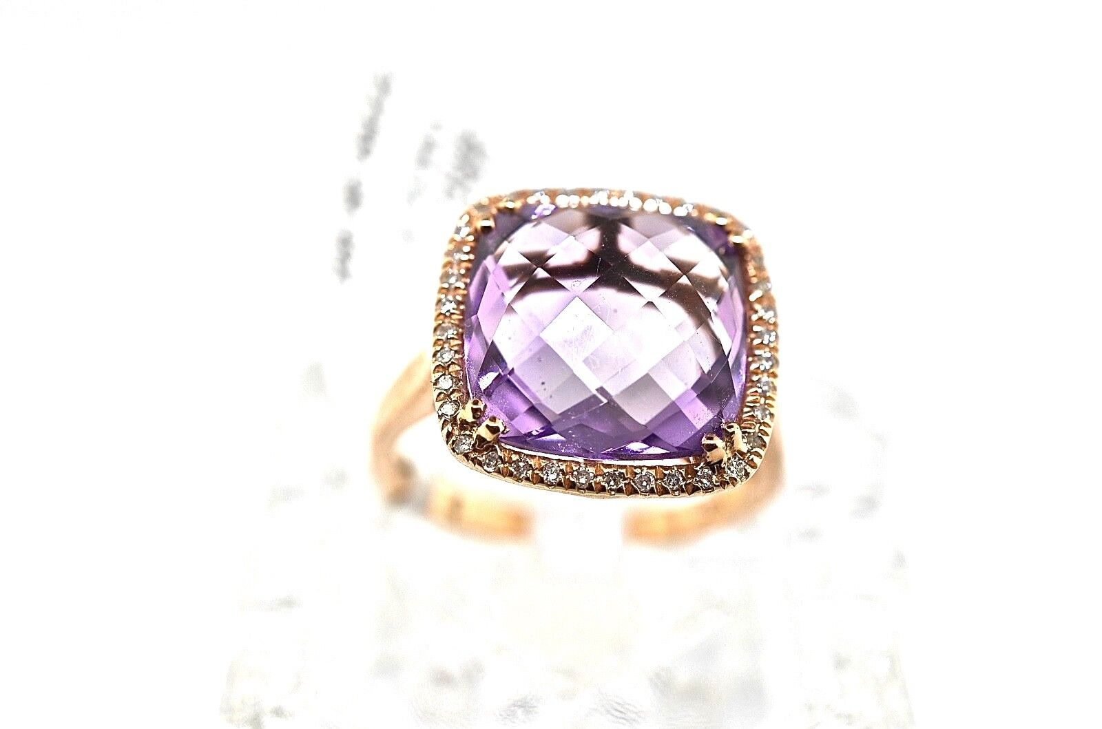 14k pink gold, Diamond And Cushion Cut Amethyst Ring. Size 6.25