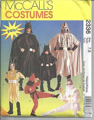 McCall's Sewing Pattern # 2336 Boys Super Hero Costumes Size 7-8