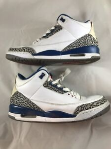 73615cc629dd99 Nike Air Jordan III 3 Retro WHITE TRUE BLUE CEMENT COOL GREY RED ...
