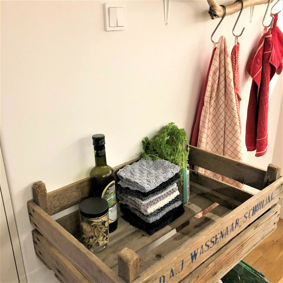 KLUDE - karklud - vaskeklud - serviet, Håndstrikket
