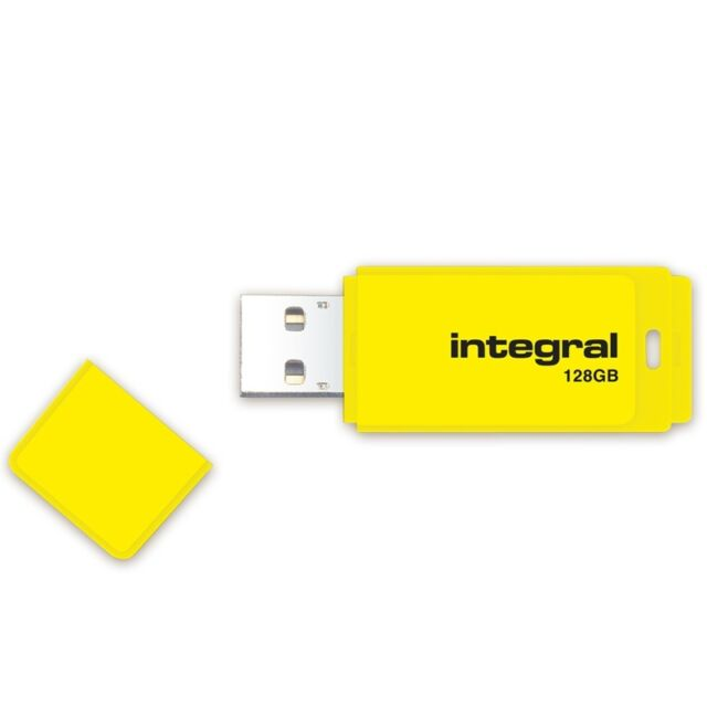New Integral 128GB Neon USB Flash Drive 12MB/s Memory STick Pen Thumb Yellow
