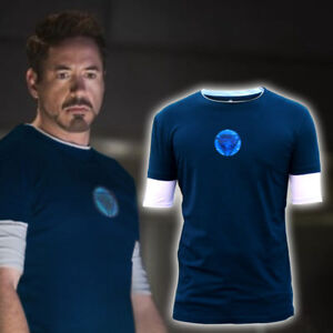Iron Man3 Tony Stark Arc Reactor Luminous Short//Long T-Shirt Sweatshirt Cosplay