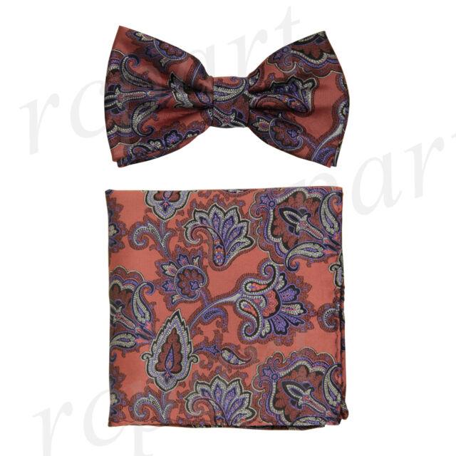 New Brand Q Men/'s Pre-tied Bow tie /& 2 hankie purple black flower formal prom