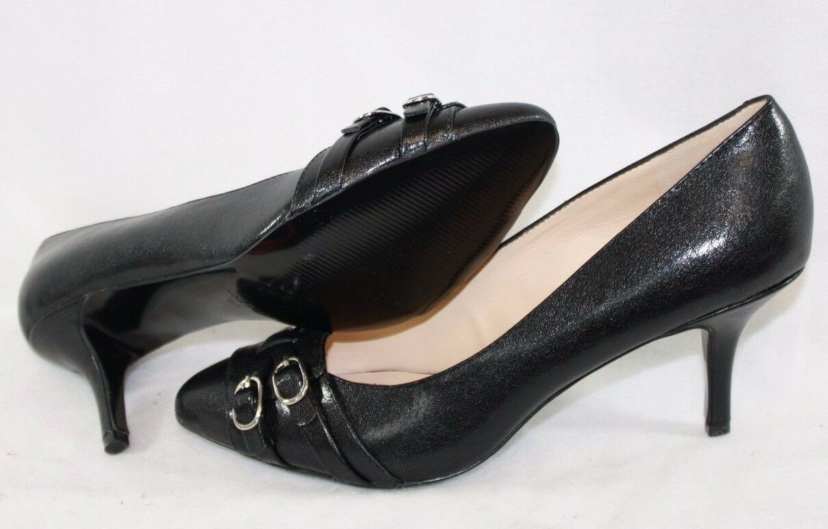 NEW Womens NINE WEST NW7 Jacinta Black Synthetic Leather 3  Heels Pumps shoes