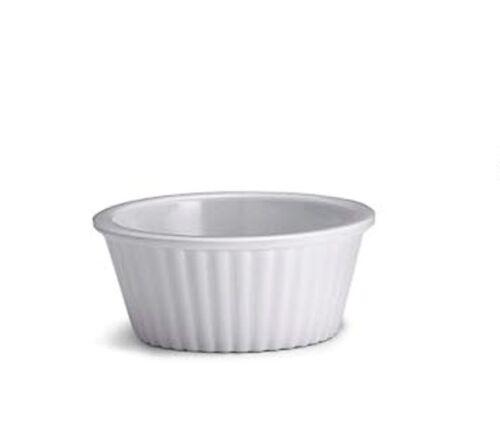 Dip Dish 12x 1oz Ramekin Black Melamine Fluted White Relish