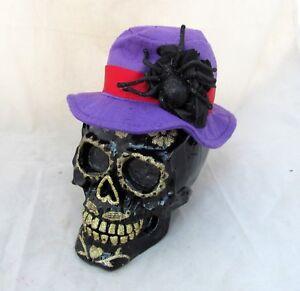 Day-of-the-Dead-Halloween-Decor-Black-Skull-Bone-Skeleton-Head-Purple-Hat-Spider