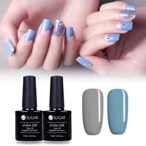 2X-Nail-Art-Gel-Polish-UV-LED-Gray-Blue-Soak-Off-Gel-Kit-Party-Tipss-7-5ml