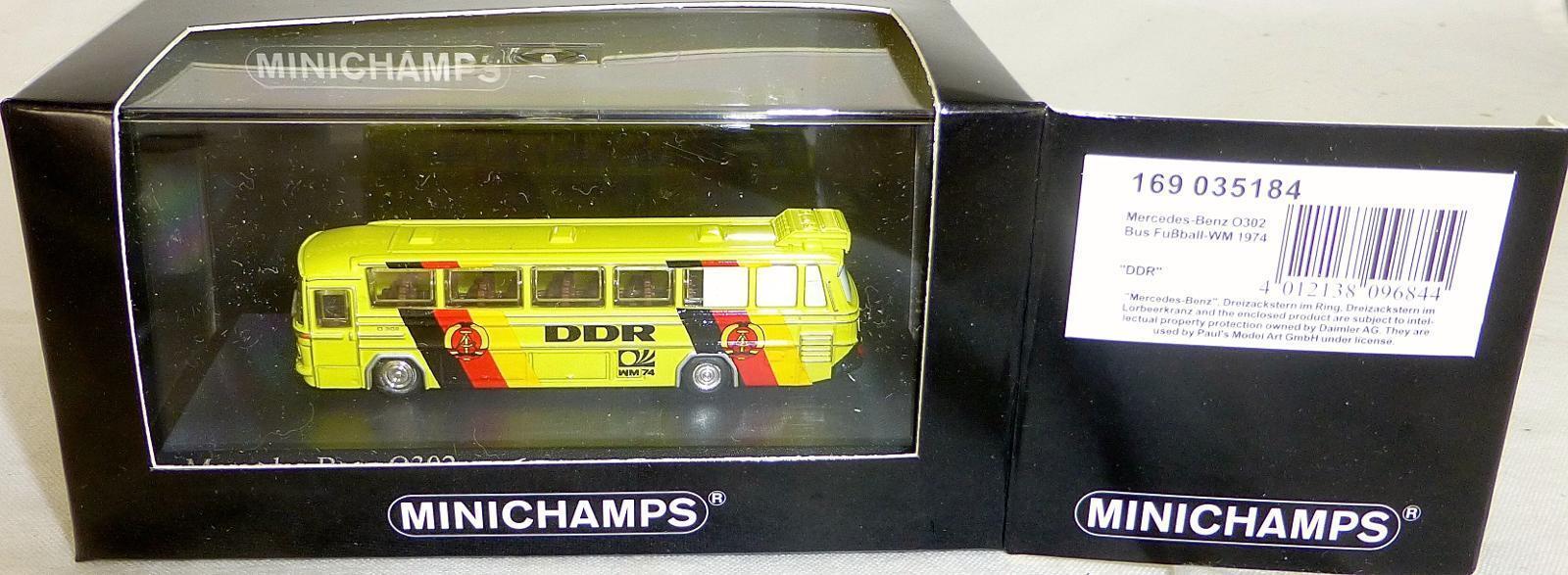 DDR Mondiali di Calcio 1974 Mercedes-Benz O302 Minichamps 1 160 Conf. Orig.  Lb5