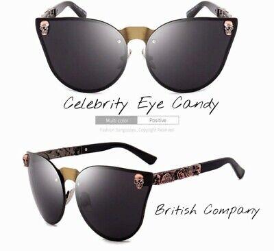 BLACK SKULL Cateye SUNGLASSES Celebrity BRITISH COMPANY Designer Inspired  .11