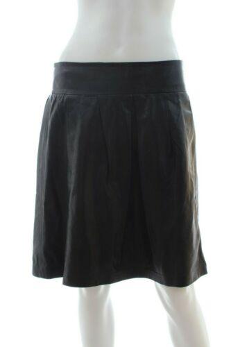 Vince Pleated Leather Skirt / Black