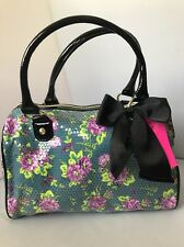 NEW BETSEY JOHNSON Sequin Flower Dandy Teal Speedy Satchel Bag BR15820 NWT