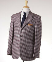 $7495 Kiton Burgundy Check 100% Cashmere Sport Coat 42 R (eu 52) on sale