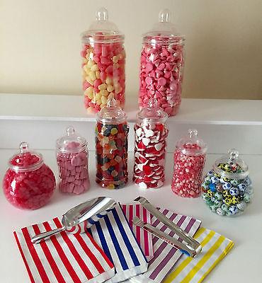 8 X Barattoli Per Dolci In Plastica, 50 Sacchetti, Pinze & Scoop Candy/dolci Buffet Tavola Matrimonio- Non-Stireria