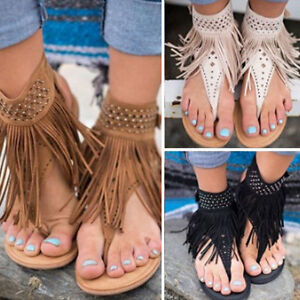 Women Beach Sandals Bohemia Tassels Flip Flops Women Flat Shoes