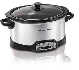 Hamilton Beach Programmable 5-Quart Slow Cooker Electric Pot in Stainless Steel