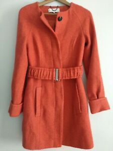 Snob-Damen-Orange-Mantel-Gr-XS-Guertel-Cinch-Waist-Taschen-Kleid-Smart-Bold-Power