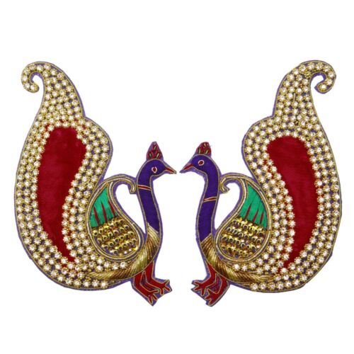 Indian Peacock Appliques Beaded Sequins Sewing Supply Multicolor For 1 Pair