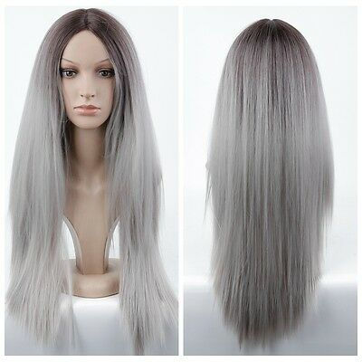 New Womens Ombre Wig Loliat Grey Mixed Heat Synthetic Cosplay Full Wigs+Wig Cap