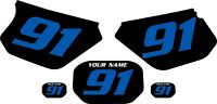 1991-2003 Yamaha Dtr 125 Custom Pre-printed Black Backgrounds With Blue Numbers