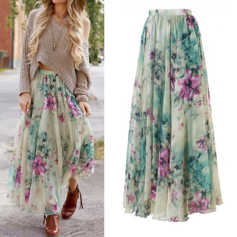 b30ea122cbb Womens Floral Skirt Dress Boho Long Maxi Full Beach Sun Dress Evening  Dresses 2 2 of 12 See More