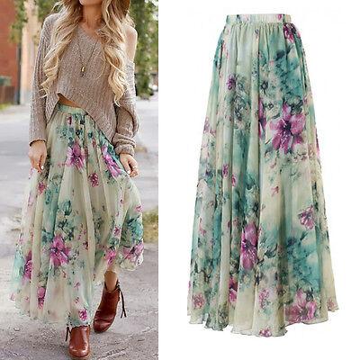 Ladies Boho Floral Chiffon Long Maxi Dress Skirt Summer Beach Party Sun Dresses