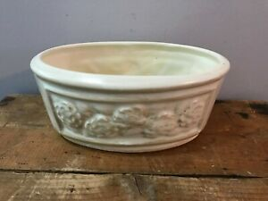Vtg-Floral-Off-White-Ivory-Ceramic-Tub-Oval-Planter-Flower-Pot-Vase-8-5-034-x4-034-x5-034