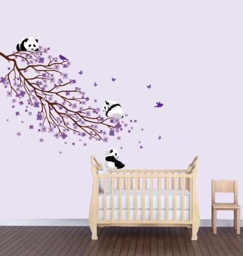Flower Wall Decor Animal Wall Art Rev.Long Flower Branch Panda Nursery Sticker