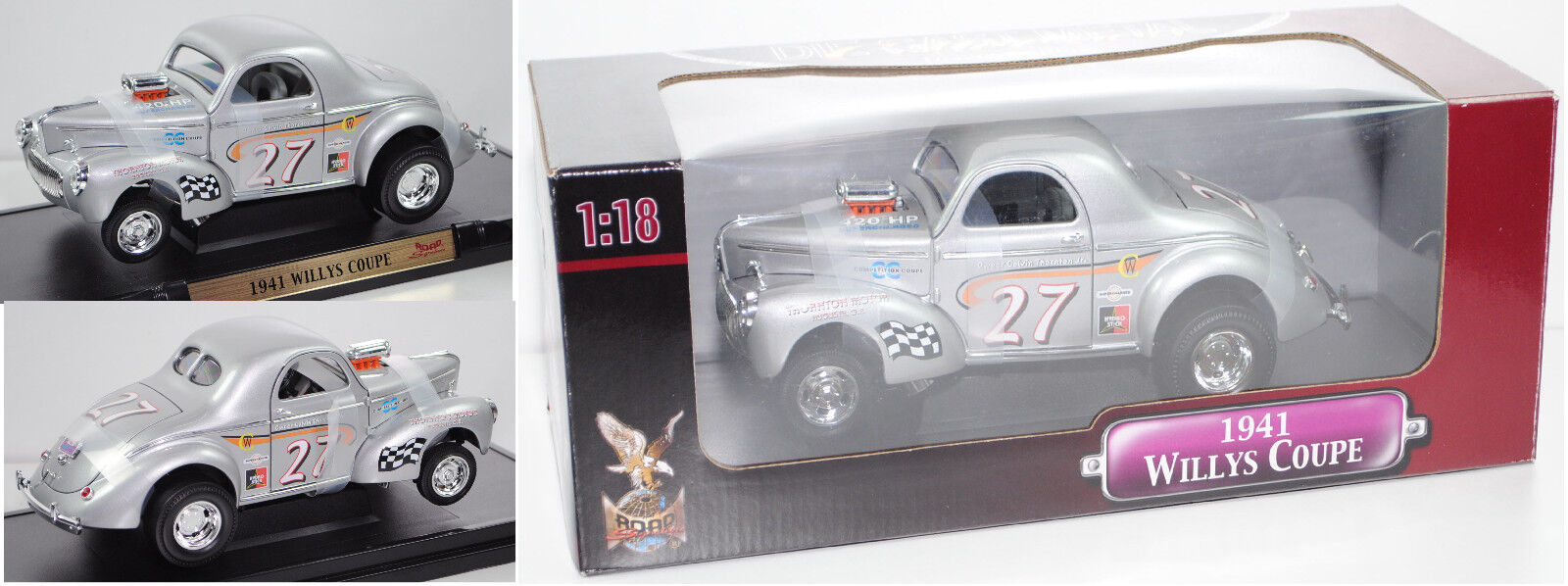 YATMING 5510863 Willys americar coupé (type Hot Rod), argent, 1 18