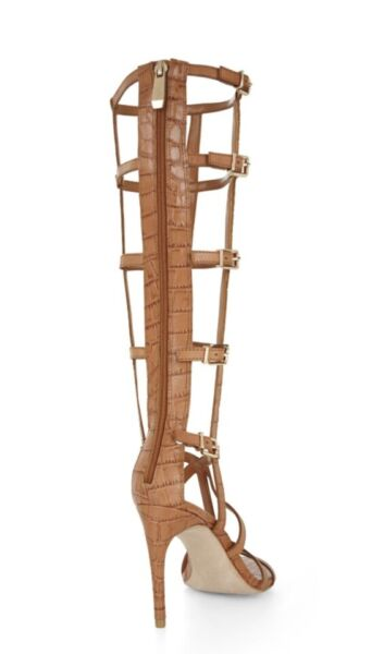 34bc7c79d52e Hover to zoom · New BCBG Maxazria Gladiator Sandals boot cage hills camel 7  shoes leather