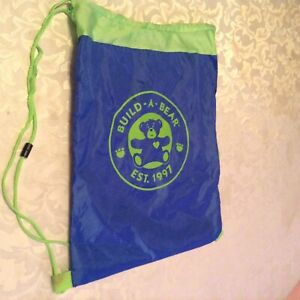 Build-a-bear-cinch-sack-backpack-blue-green-tote-bag-Size-18x13-1-4