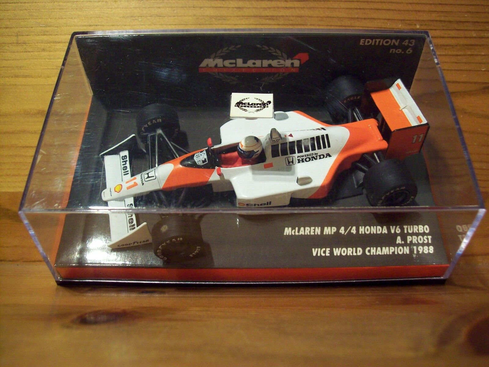 1 43 MCLAREN MP4 4 Honda V6 TURBO ALAIN PROST 1988 VICE WORLD CHAMPION