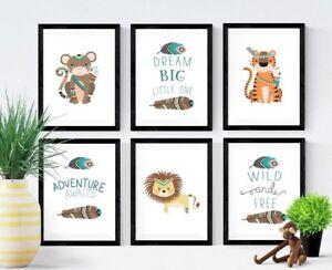 Image Is Loading 6 Jungle Safari Tribal Animal Print Pictures Nursery