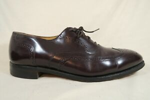 Johnston-Murphy-Optima-Burgundy-Leather-Wingtip-Brogue-Oxfords-Shoes-Mens-10-5-D