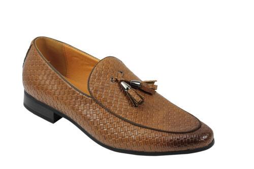 Vintage pour homme en cuir tressé doublé Tassel Moccasin Mocassins Rétro Décontracté Chic Chaussures