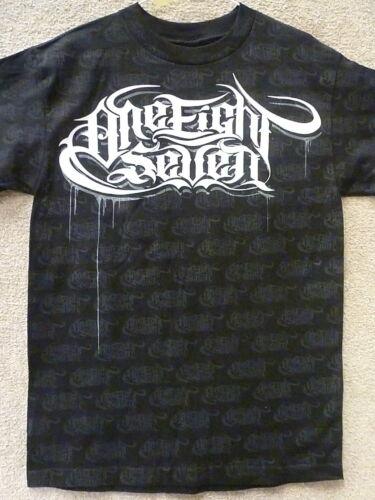 "187 Inc Men/'s T-Shirt /""Allover/"" Color Black //White"
