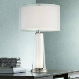 Details about Modern Table Lamp with Nightlight Clear Frosted Glass for  Living Room Bedroom
