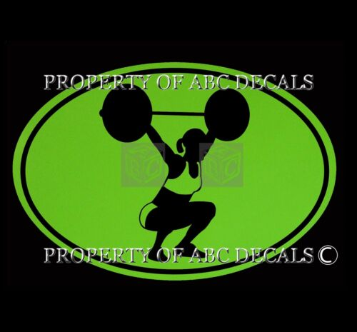 VRS OVAL WEIGHT LIFTING CROSSFIT SQUAT LIFT Boot Camp Gym GIRL VINYL CAR DECAL