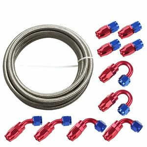 20Feet-6AN-Stainless-Steel-Braided-Fuel-Line-10PCS-Swivel-Fitting-Hose-End