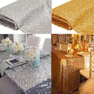 Image Is Loading Sequin Tablecloth Square Wedding Table Linens Silver Gold