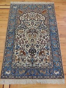 Image Is Loading Semi Antique Persian Isfahan 3x5 Oriental Rug Silk