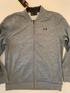 Under-Armour-Mens-Full-Zip-Sweatshirt-Jacket-Gray-Zip-Pockets-Sweater-Size-L