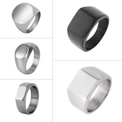 Fashion Mens Jewelry Ring Black Silver Polished Signet Stainless Steel Band Gift
