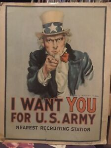 Vintage Army Recruiter Poster 1978 I Want You For The US Army Uncle Sam  11x14