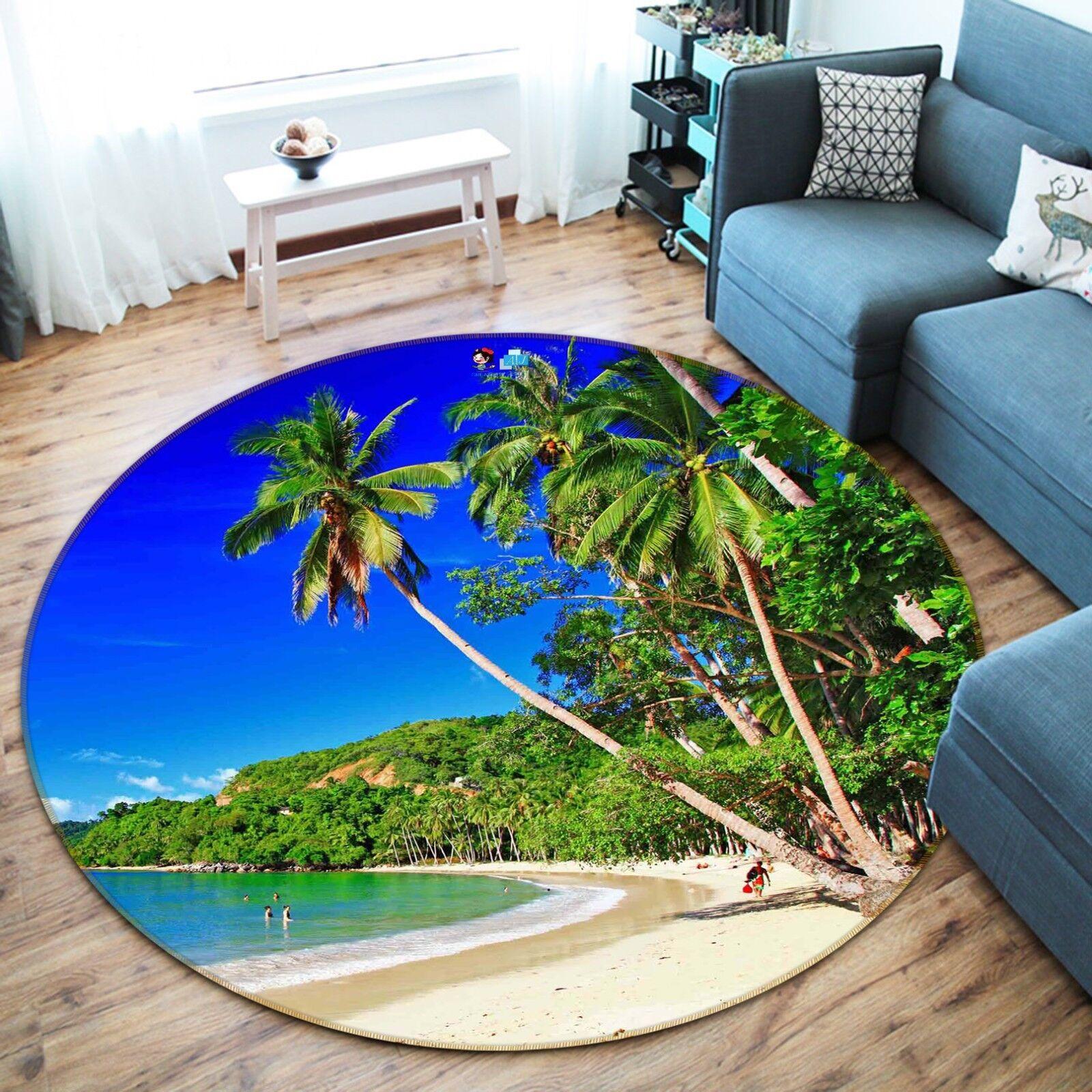 Tapis de sol Tapis de sol 3D Beach Tree 83 antidérapant rond qualité tapis photo élégant US