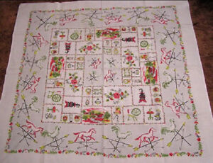 Vintage-Tablecloth-Border-of-Rooster-and-Horse-Weather-Vanes-Farm-Scene